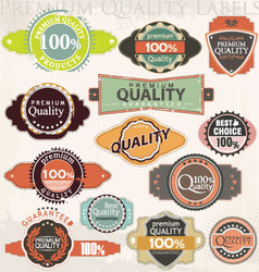 retro premium quality label collection set vector image vector image