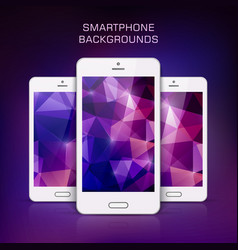 white mobile phone with triangular background vector image vector image