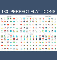 180 modern flat icons set of school stationery vector image vector image