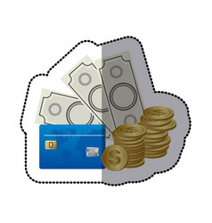 Bills coin and cash icon stock icon vector