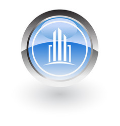 glossy icon building vector image