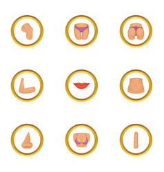 parts of human body icons set cartoon style vector image vector image
