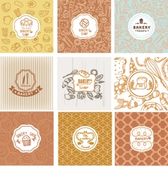 Set of bakery logo vector image