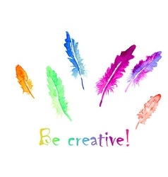Watercolor feather vector image vector image