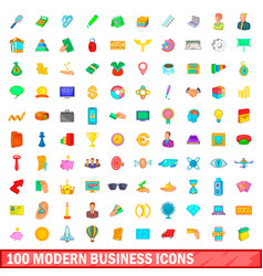 100 modern business icons set cartoon style vector