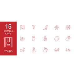 15 young icons vector