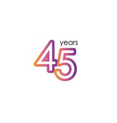 45 years anniversary color full elegant vector
