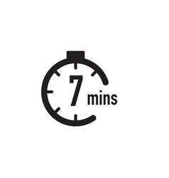 7 minutes timer stopwatch or countdown icon time vector