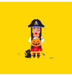 a pirate girl character for halloween vector image
