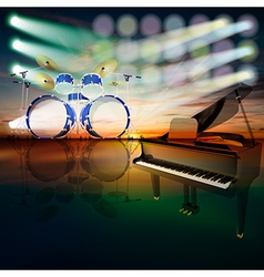 Abstract jazz background with grand piano and drum vector