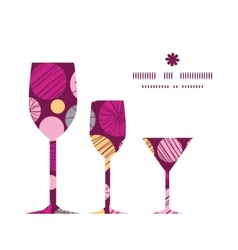 Abstract textured bubbles three wine glasses vector