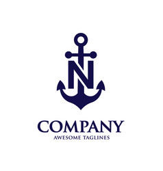 anchor letter n vector image