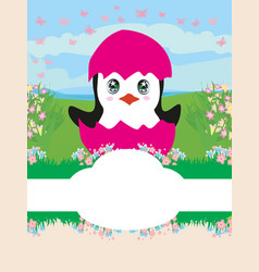 baby shower card design with penguin vector image