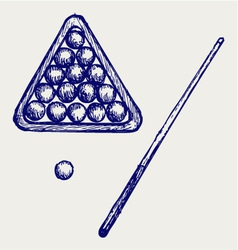 Billard cues and balls vector