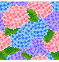 blue pink and purple hydrangea flower seamless vector image
