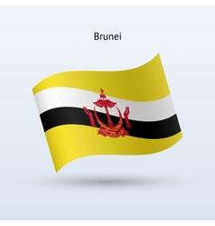 Brunei flag waving form vector