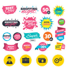 Businessman signs human and cash money icons vector