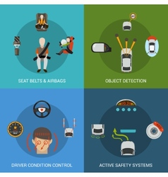 Car safety system set vector