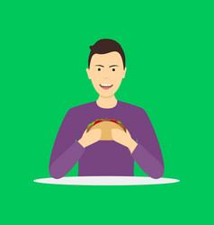 cartoon character person eating fast food vector image