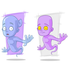 Cartoon funny ghost characters set vector
