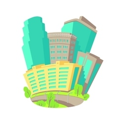 Cartoon icons with group of multistory vector image