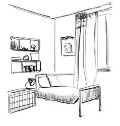 Children s room children s furniture changing vector