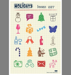 Christmas and other holidays web icons set vector image