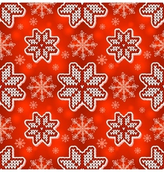 Christmas red embroidery seamless pattern vector