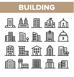 city town buildings linear icons set vector image