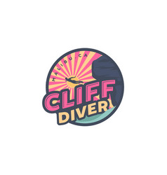 Cliff diving on beach logo designs palm and vector
