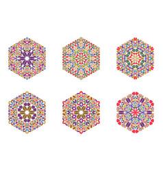 Colorful abstract flower hexagon logo template set vector