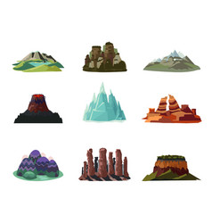 Colorful mountains icons set vector