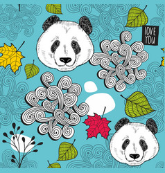 Colorful seamless background with cute chinese vector