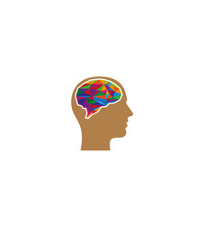 creative colorful brain head logo symbol vector image