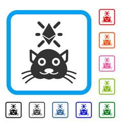 crypto kitty framed icon vector image