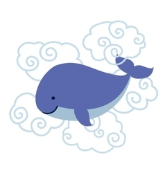 Cute cartoon whale in clouds isolated on white vector