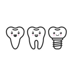 Cute teeth outline set with different vector