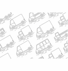 delivery van seamless pattern line icon vector image