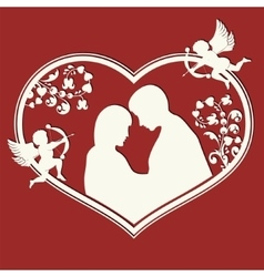 design from the heart and contours of lovers vector image