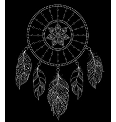 dreamcatcher on black background vector image