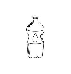 Drinks plastic bottle water cold fresh liquid line vector