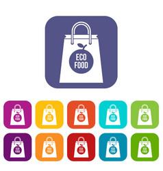 eco food bag icons set vector image