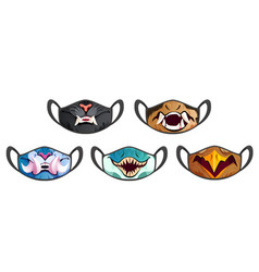 face masks with scary animal fangs vector image