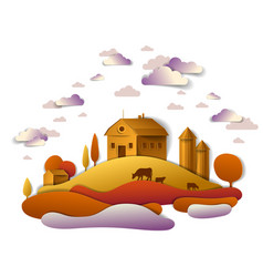 farm in scenic autumn landscape of fields and vector image