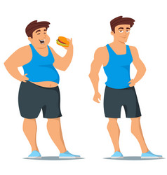 fat and slim man in sport wear vector image