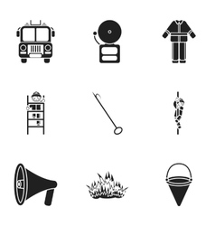 Fire department set icons in black style big vector