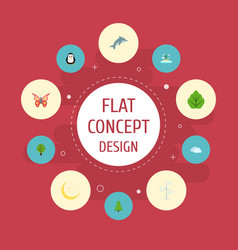 Flat icons tree emperor sky and other vector