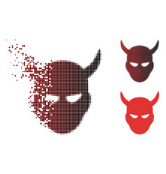 Fragmented dot halftone daemon head icon vector