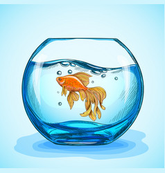 Goldfish in a blue fishbowl hand drawn sketch vector