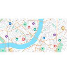 Gps point map navigation signs on city scheme vector